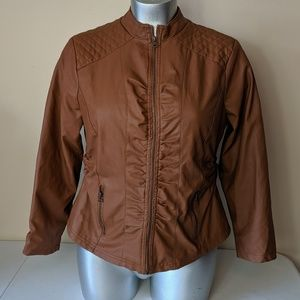 Outer Edge Vegan Faux Leather Moto Jacket Ruched